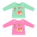 Baby clothes with cartoon animals. Sketchy little pink elephant Royalty Free Stock Photo