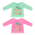 Baby clothes with cartoon animals. Sketchy little pink fox Royalty Free Stock Photo