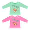 Baby clothes with cartoon animals. Sketchy little pink monkey Royalty Free Stock Photo