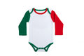 Baby clothes italy short sleeve in italian colors on white background Stock Photos