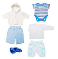 Baby clothes set of boy in blue and white isolated on white background Royalty Free Stock Photo