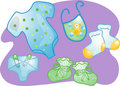 Baby clothes set illustration Royalty Free Stock Images