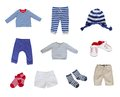 Baby clothes set on white background Royalty Free Stock Images