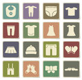 Baby clothes simply icons Royalty Free Stock Photo