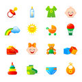 Baby clothing and accessories icons Stock Images
