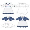 Baby cloths set, baby girl outfit- elegant dress and bolero jacket