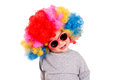 Baby clown funny with wig and sunglasses isolated on white background Royalty Free Stock Images