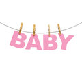 Baby colorful letters hanging on rope with clothespins isolated on white babyshower theme Stock Photo
