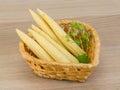 Baby corn fresh ripe on the wood background Stock Photo