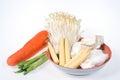 Baby corn,king trumpet mushroom,needle mushroom,onions,carrot Royalty Free Stock Photo