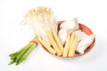 Baby corn,king trumpet mushroom,needle mushroom,onions Royalty Free Stock Photo