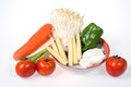 Baby corn,king trumpet mushroom,needle  mushroom,tomatoes,onions,carrot,green pepper Royalty Free Stock Photo