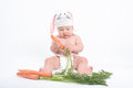 Baby in a costume of rabbit nibbling carrot isolated on white Stock Photography