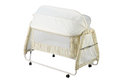 Baby cot with mosquito net Stock Photo