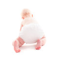 Baby crawling adorable month isolated on white with copy space Royalty Free Stock Photo