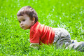 Baby crawling in grass Royalty Free Stock Photo