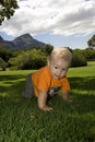 Baby crawling on grass outdoors Royalty Free Stock Images