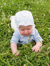 Baby crawling on the meadow Royalty Free Stock Image