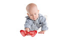 Baby crawls on all fours and look Royalty Free Stock Photos