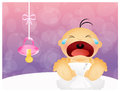 Baby cries illustration of with pacifier Royalty Free Stock Photo