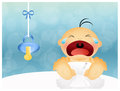 Baby cries illustration of with pacifier Royalty Free Stock Images