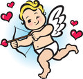 Baby cupid vector illustration of about to shoot his love arrow Stock Photography
