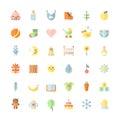 Baby cute big flat icons vector set.