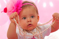Baby cute girl with pearl necklace Royalty Free Stock Photo