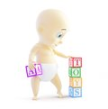 Baby d alphabet blocks on a white background Royalty Free Stock Photos