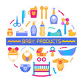 Baby design element with different products Royalty Free Stock Photo