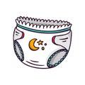 Baby diaper, bright vector children illustration on whi
