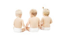 Baby in diapers sitting back side view over white friends background Stock Photo