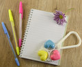 Baby diary still life with colorful pencils and plaything Royalty Free Stock Photography