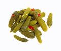 Baby Dill Pickles on White Royalty Free Stock Images