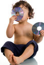 Baby with disk. Stock Images