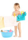 Baby doing laundry Royalty Free Stock Photo