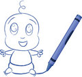 Baby Drawn By Crayon - Vector Illustration Stock Photography