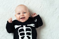 Baby dressed skeleton little funny Stock Photo