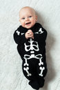 Baby dressed skeleton little funny Stock Photography