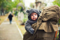 Baby dressed in warm clothes funny looking like a bear Royalty Free Stock Image
