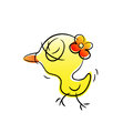 Baby duck cartoon vector illustration of little cute girly drawn with doodle style Stock Photo
