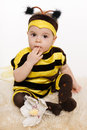Baby earing bee costume sitting on the floo Royalty Free Stock Photo