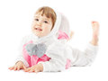 Baby in easter bunny costume, kid girl rabbit hare Royalty Free Stock Photo