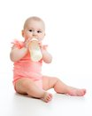 Baby eating food from milk bottle Royalty Free Stock Photo