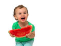 Baby eating watermelon isolated on white Royalty Free Stock Image