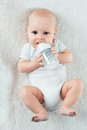 Baby eats from nipples little Royalty Free Stock Image