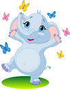Baby elephant dancing with butterflies Royalty Free Stock Photos