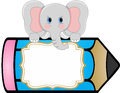 Baby elephant with pencil personalized label sticker