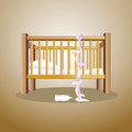 Baby the escape in cradle of outside Stock Photography