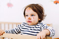 Baby with face injury cute girl Stock Photo